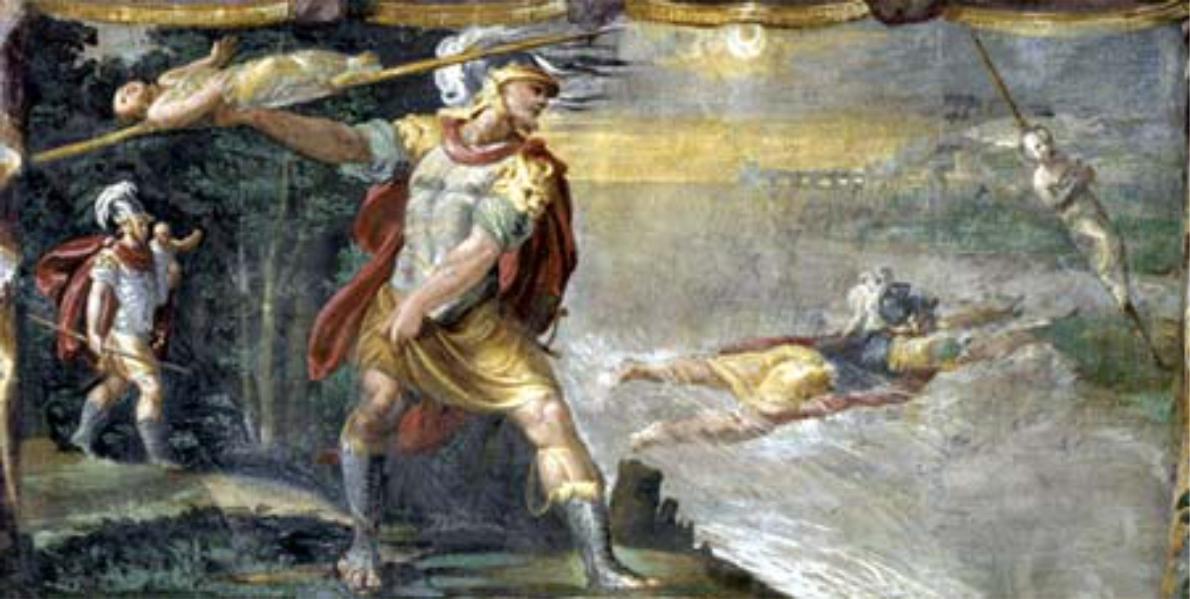 Metabo getta la lancia, a cui ha legato Camilla, sull'altra sponda del fiume Amaseno