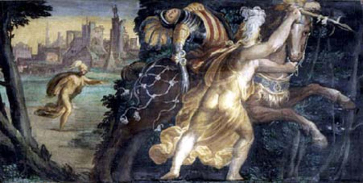Camilla insegue a piedi il figlio di Auno e lo uccide